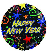 "9""  Airfill Happy New Year Black Holographic Balloon"