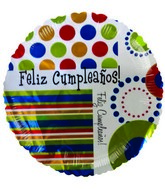 "9""  Airfill Feliz Cumpleanos Dots and Stripes Balloon"