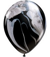 "11"" Black & White Super Agate Latex Balloons"