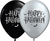 "11"" Halloween Moon and Bats SIlver Black (50 Ct)"