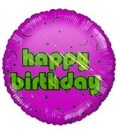 "2"" Happy Birthday Gold & Pink Airfill Mylar Balloon"