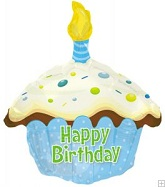 "17"" Happy Birthday Day Blue Cupcake Shape Packaged"
