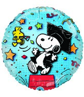 "18"" Snoopy Graduation Celebration Streamers Blue Balloon"