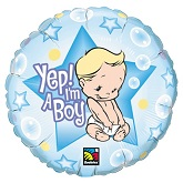 "18"" Yep! I�m A Boy Packaged Mylar Balloon"