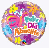 "18"" Feliz Dia Abuelita Butterfly & Flowers Packaged"