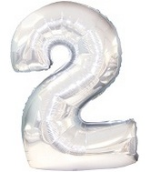 "38"" Silver Two Mylar Number Balloon"