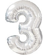 "38"" Silver Three Mylar Number Balloon"