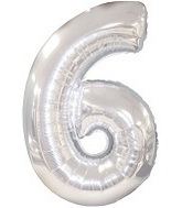 "38"" Silver Six Mylar Number Balloon"