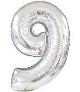 "47"" Silver Nine Mylar Number Balloon"