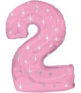 "38"" Pink Sparkle Two Number Balloon"