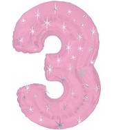 "38"" Pink Sparkle Three Number Balloon"