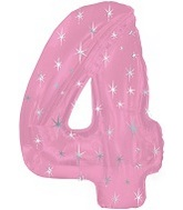 "46"" Pink Sparkle Four Number Balloon"
