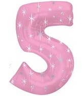 "51"" Pink Sparkle Five Number Balloon"