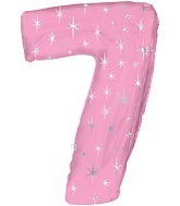 "38"" Pink Sparkle Seven Number Balloon"