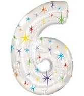 "38"" Multi-Colored Sparkles Six Balloon"