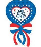 "34"" God Bless America Heart w/ Bow 5B374"