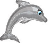 "35"" Silver Flying Dolphin Mylar Balloon"