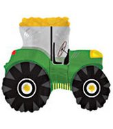 "25"" Green Tractor SuperShape Balloon"