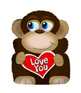 "19"" Bashful Monkey Balloon"