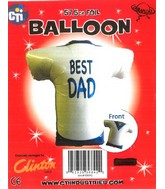 "22"" Best Dad White Rugby Jersey Foil Balloon"