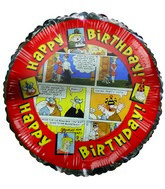 "18"" Happy Birthday Comic Strip Mylar Balloons"