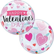 "22"" Bubble Balloon Valentine&#39s Arrows and Hearts"