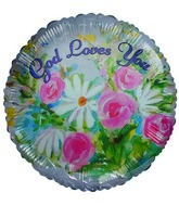 "18"" God Loves You Water color flowers white balloon"
