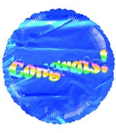 "18"" Rainbow Congrats Blue Mylar Balloon"