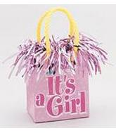 "5.5OZ Pink ""It&#39s A Girl"" Balloon Bag Weight"