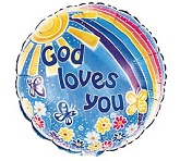 "18"" God Loves You Rainbow Balloon"