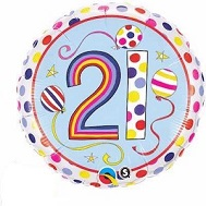 "18"" Dots & Stripes Age 21 Licensed Packaged Mylar Balloon"