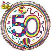 "18"" Dots & Stripes Age 50 Licensed Packaged Mylar Balloon"