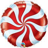 "9"" Airfill Only Round Candy Swirl Red Balloon"