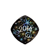 "18"" Class of 2014 Gold & Silver Stars Holographic Balloon"