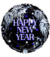 "18"" Happy New Year Fireworks & Stars Black Balloon"