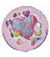 "18"" Sweet 16 Make Up Mylar Balloon"