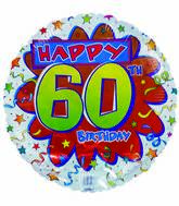 "18"" 60th Birthday Streamers & Stars White Border"