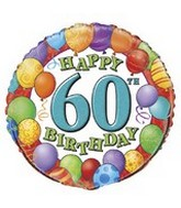 "18"" Happy 60th Birthday Balloons"