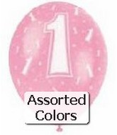 "12"" Assorted Number ""1"" Latex 72&#39s"