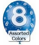 "12"" Assorted Number ""8"" Latex 72&#39s"