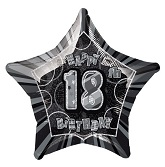 "18"" 18th Birthday Balloons Prism Black"
