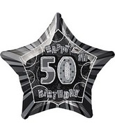 "20"" Happy 50th Birthday Star Prism Balloon Packaged"
