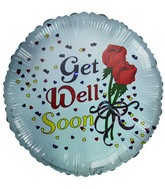 "18"" Get Well Soon Roses Colorful Hearts White balloon"