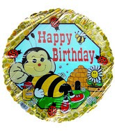 "18"" Happy Birthday Honey Bee Hive Pattern Balloon"