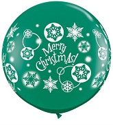 "36"" Christmas! Snowflakes Emerald Green Latex Balloons"