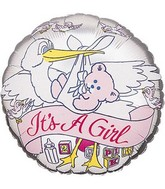 "18"" It&#39s a Girl Banner Stork Silver Foil Balloon"