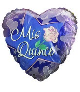 "18"" Mis Quince Rose Hearts & Stars Mylar Balloon"