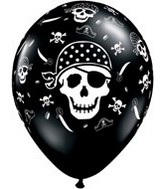 "11"" Onyx Black Pirate Skull & Cross"