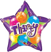 "18"" Sparkling Thirty Mylar Balloon"