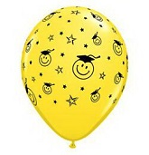"11"" Smiley Face Part Grad Latex Balloon 100CT"